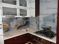 Кухонный фартук из стекла купить в Луцке. Стеновая панель. Архидеи и кофе. Уютный дизайн кухни, фото 1