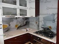 Кухонный фартук из стекла купить в Луцке. Стеновая панель. Архидеи и кофе. Уютный дизайн кухни