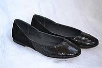 Комбинированные кожаные черные балетки