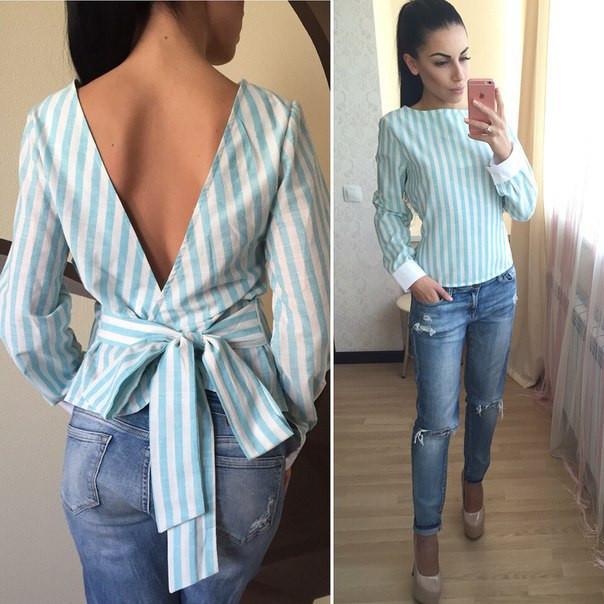 b1bbeb376b12278 Рубашка стильная льняная с открытой спиной в полоску разные цвета ...