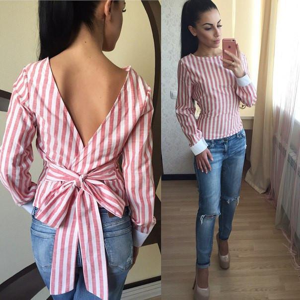 dace0429e Рубашка стильная льняная с открытой спиной в полоску разные цвета SR78 -  Shoppingood в Харькове