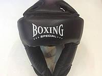 Боксерский шлем кож/винил с закрытой теменной частью черный