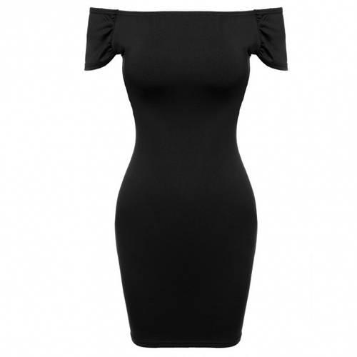 Элегантное черное платье спадающее с плеч