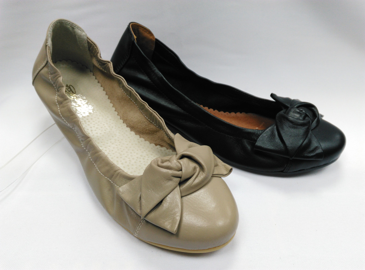 Кожаные балетки в двух вариантах. Украина.