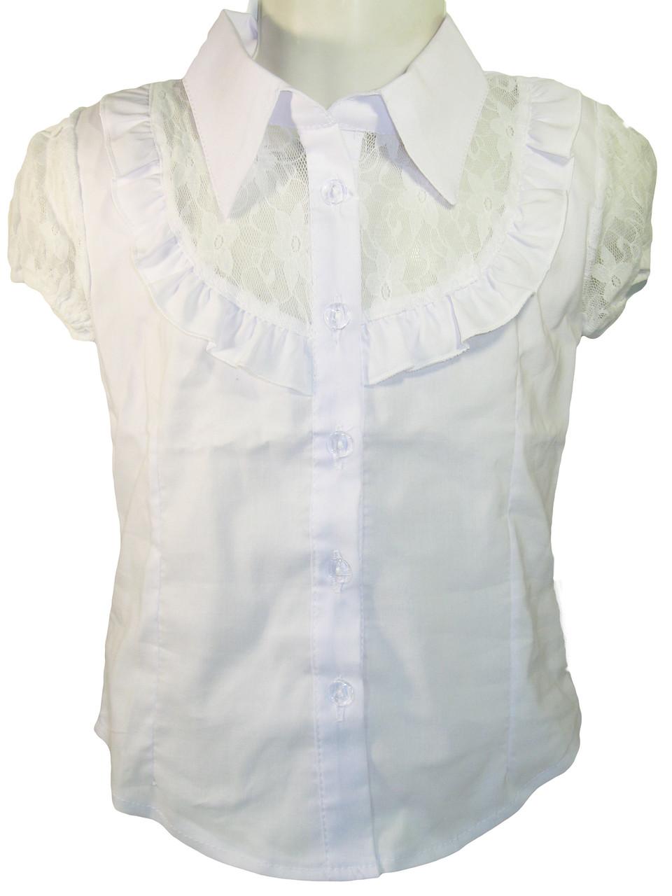 Блузка нарядная белая для девочек, размеры 98-158, арт. 110