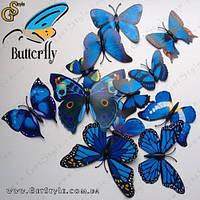 "Декоративные бабочки - ""Blue Butterfly"" - 12 шт., фото 1"