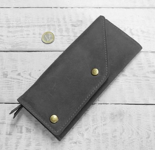 Компактное портмоне из натуральной кожи GBAGS W.0002-CH серый