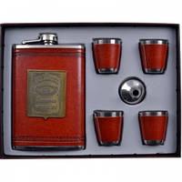 Подарочный набор Jack Daniels (фляга,4 стопки,лейка) AL706, набор для мужчин ,наборы с флягой.