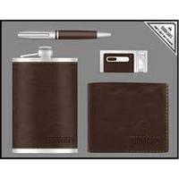 Деловой набор Moongrass 4 предмета №55-2,подарочный мужской набор 4 в 1 :ручка, брелок, зажигалка, партмане