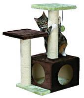 """*ДТ/Трикси-43770/Домик с когтеточилкой """"ВАЛЕНСИЯ"""" для кошек и котят, 71см, коричневый/салатовый."""