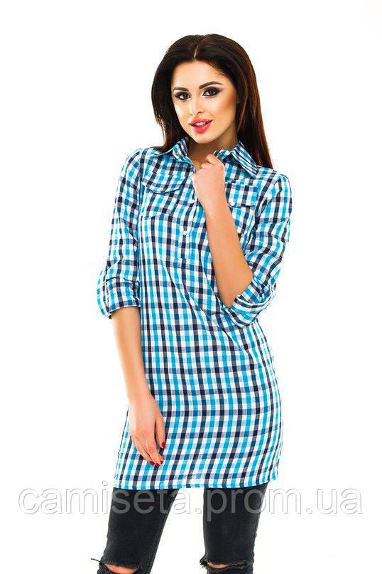 7ef869dd395 Рубашка-туника женская из хлопка в клетку P2229  продажа