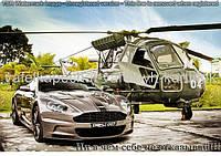 Вафельная картинка Машина и вертолет