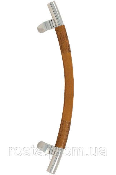 Ручка-скоба PASINI SIDNEY 430mm STEEL/LEATHER PYTHON (кожа питона)