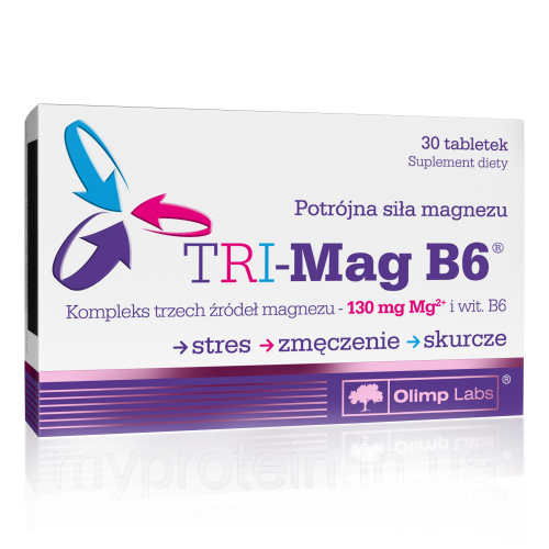 "Магний, Витамин B6  TRI-Mag B6 (30 tab) -  Интернет - магазин ""MyProtein"" в Ржищеве"