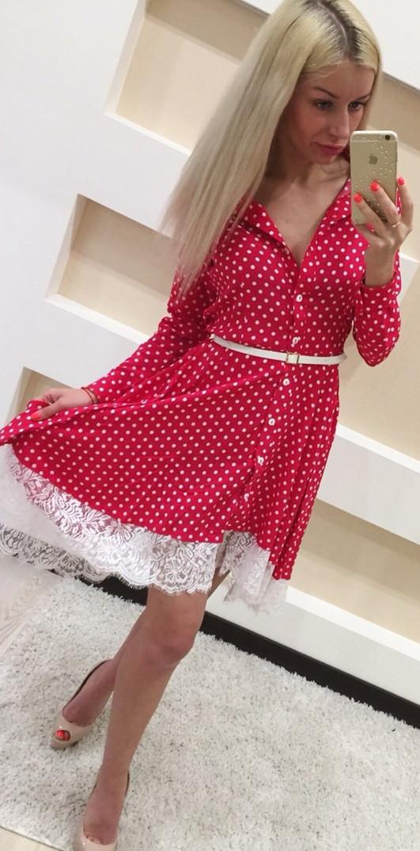 b99c73cea01 Красивое платье с пышной юбкой в белый горошек (арт. 184808201) - Aleksa -