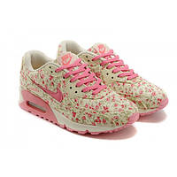 Кроссовки женские Nike Air Max 90 розовые с цветами