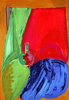 """Елена Придувалова, """"Натюрморт с колбой"""" (серия: """"Натюрморты"""", гуашь)"""
