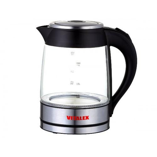 Чайник электрический Vitalex VL-2021 с подсветкой, 1.8 л прозрачное стекло электрочайник ( Виталекс )
