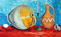 """Елена Придувалова, """"Натюрморт со свечкой"""" (серия: """"Натюрморты"""", гуашь)"""