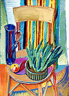 "Елена Придувалова, ""Натюрморт на старом стуле"" (серия: ""Натюрморты"", гуашь)"