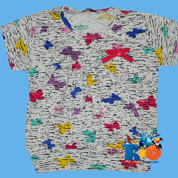 """Летняя футболка """"Бабочки"""" , из трикотажа , для девочек от 4-8 лет"""