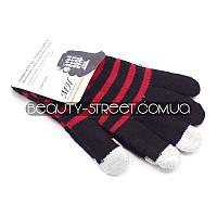 Перчатки с чувствительными пальцами для телефона и других Touch-устройств (черно-красные)