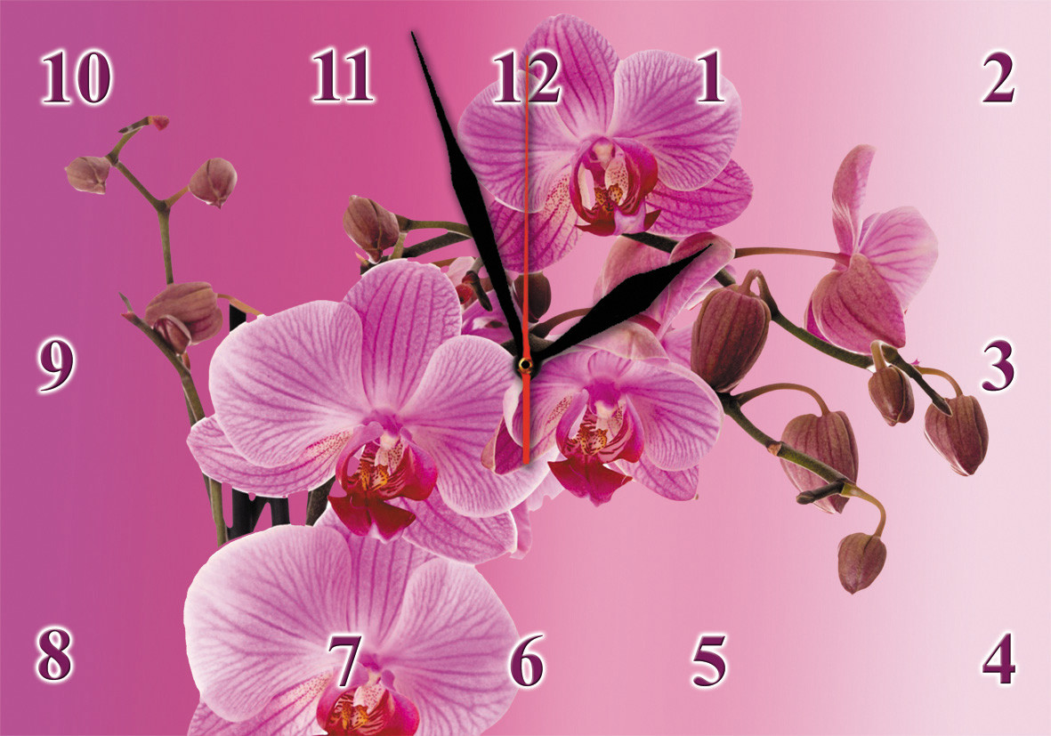 "Настенные часы на стекле  ""Пурпурная орхидея"" кварцевые"