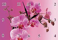 "Настенные часы на стекле  ""Пурпурная орхидея"" кварцевые, фото 1"