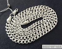 Серебряная мужская цепочка Панцирная, срібний ланцюжок чоловічий