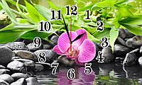 "Часы настенные стеклянные ""Орхидея на камешках"""