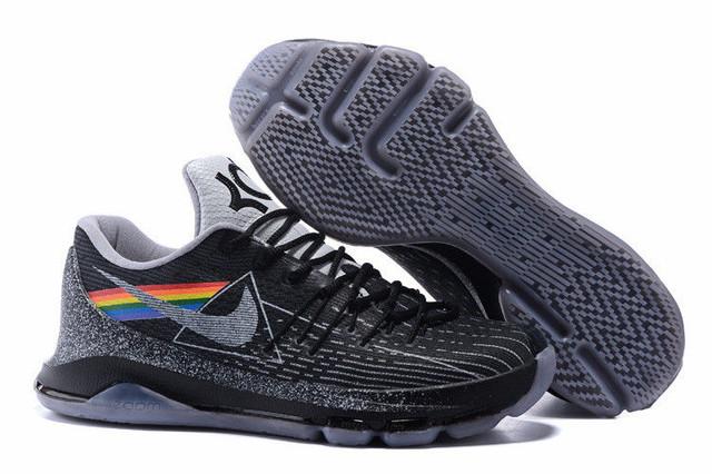 Кроссовки мужские Newest Nike Kevin Durant KD 8 VIII Shoes Rainbow Black Grey