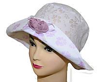 Детская шляпка Анжелика белый+сирень