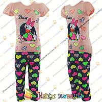 Турецкий костюм с мультяшками футболка и капри для девочек от 5 до 8 лет (4259-2)