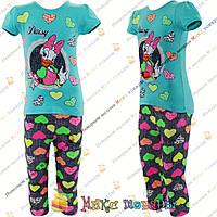 Летний костюм с мультяшками футболка и капри для девочек от 5 до 8 лет Турция (4259-1)