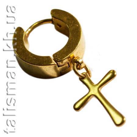 Серьга-кольцо - SP-16 - с крестом-подвеской, фото 2