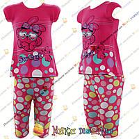 Летний костюм с мультяшками футболка и Бриджи для девочек от 3 до 6 лет Турция (4260-1)