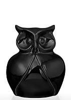 Статуэтка керамическая глянцевая черная Сова маленькая.