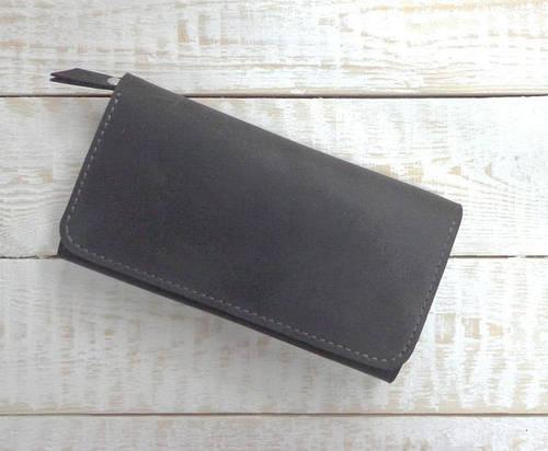Вместительное  портмоне из натуральной кожи GBAGS  W.0009-CH серый
