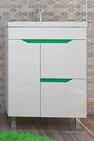 Тумба с умывальником Кварта-Техно зелёная ТМ ЛЕОС
