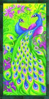 Схема для вышивания бисером на авторской канве павлины