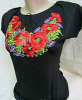 Вышитая женская футболка черного цвета