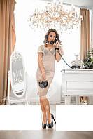 Элегантное платье-футляр итальянская органза Беж