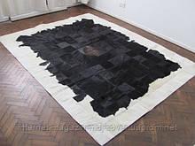 Килим чорний з білими краями з коров'ячої шкури