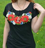 """Женская футболка-вышиванка """"Волошки"""" черного цвета"""