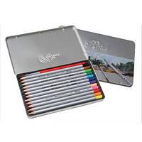 Акварельні олівці Marco Raffine 12 кольорів в металі