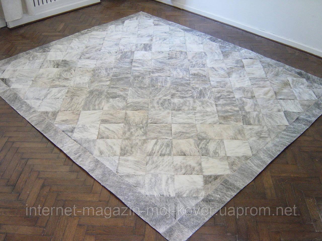 Красивий килим для заміського будинку з натуральної шкіри корови сірого тигрового кольору