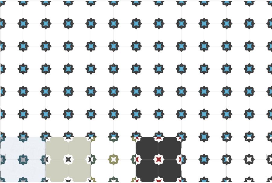 Коллекция с минимальным узором. Декоративная цементная плитка ручной работы в марокканском стиле, 20х20 см.
