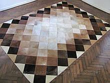 Килим ромбики з коров'ячої шкури на підлогу у коричнево бежевих відтінках