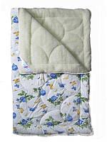 Меховое одеяло полуторное, Голубые розы (155х215 см.)