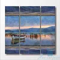 Модульная картина Большое озеро из 3 фрагментов, фото 1